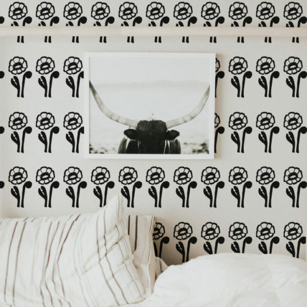 black and white bold floral self-adhesive wallpaper