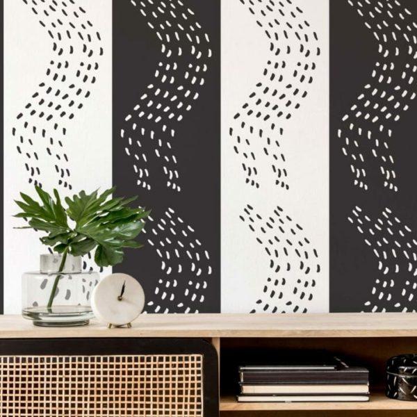 black and white bold scandi peel and stick wallpaper