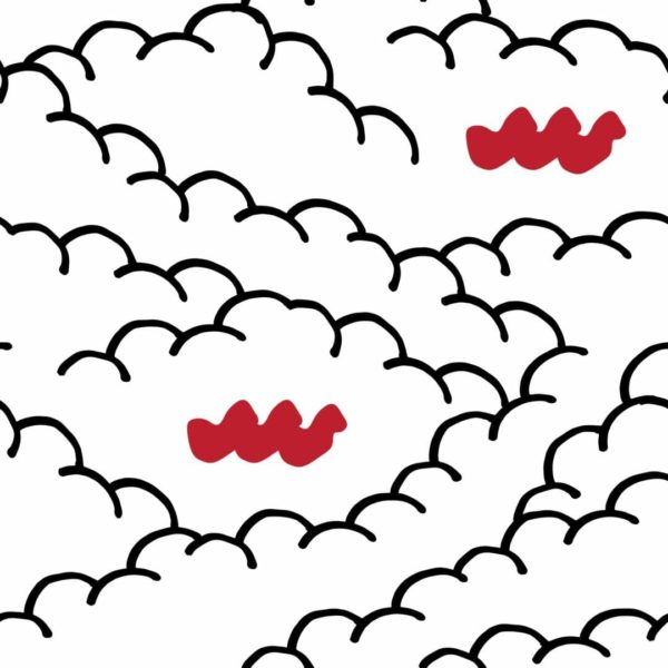 black and white cloud with red accent peel and stick wallpaper