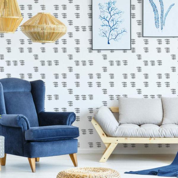 black and white crisscross peel and stick wallpaper