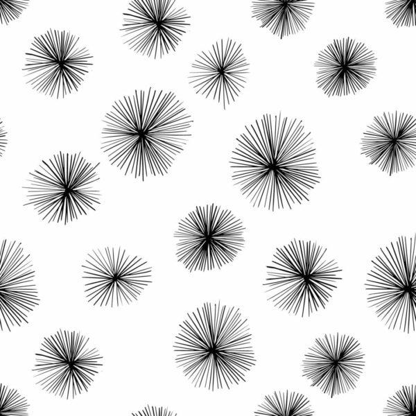 black and white dandelion floral self-adhesive wallpaper