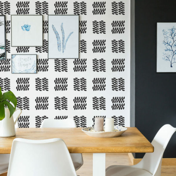 black and white dotted square peel and stick wallpaper