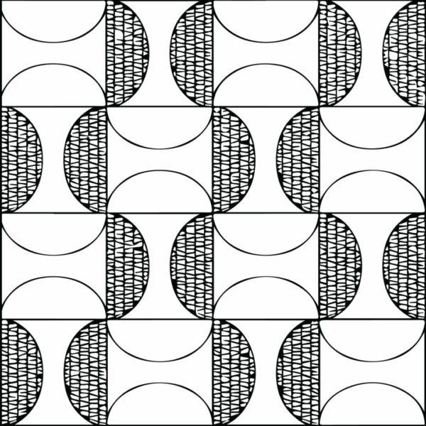 black and white geometric retro peel and stick wallpaper