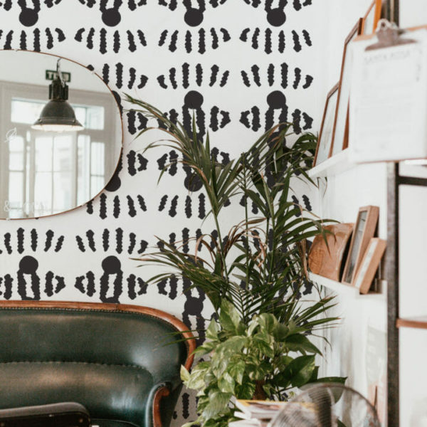 black and white geometric stripe peel and stick wallpaper