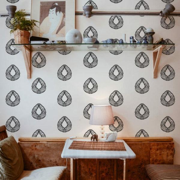black and white geometric teardrop peel and stick wallpaper