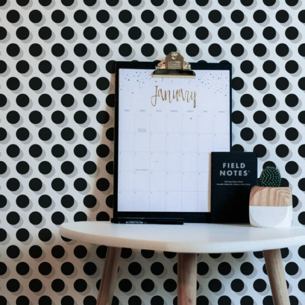 black and white graphic dot peel and stick wallpaper