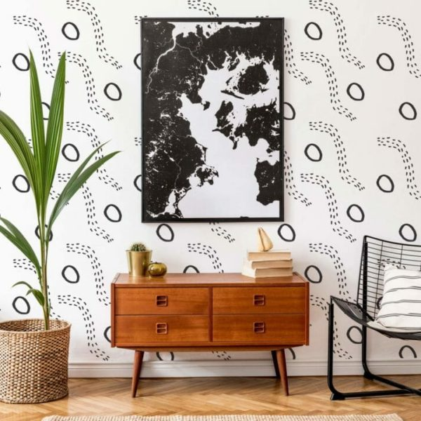black and white hand drawn shapes peel and stick wallpaper