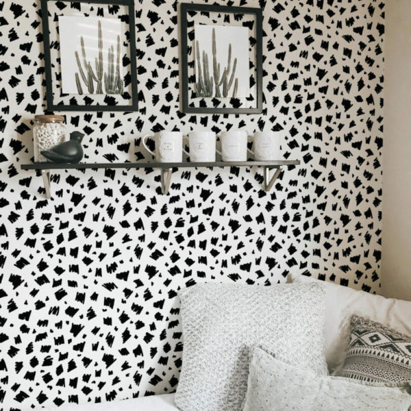 black and white hand drawn spot peel and stick wallpaper