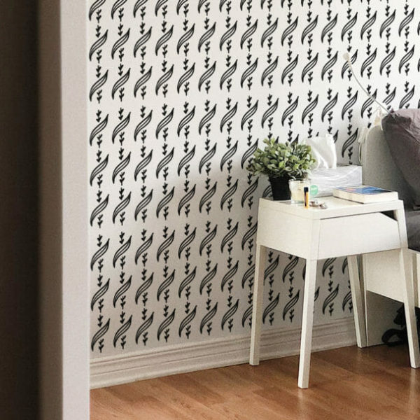 black and white leaf motive peel and stick wallpaper