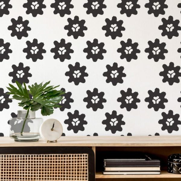 black and white minimalistic floral peel and stick wallpaper