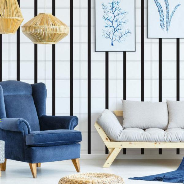 black and white minimalistic plaid peel and stick wallpaper
