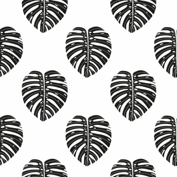black and white monstera leaf self-adhesive wallpaper