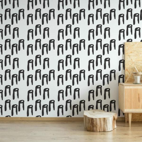 black and white scandi peel and stick wallpaper