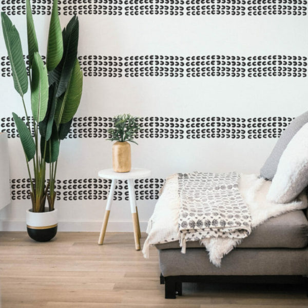 black and white small print stripe peel and stick wallpaper