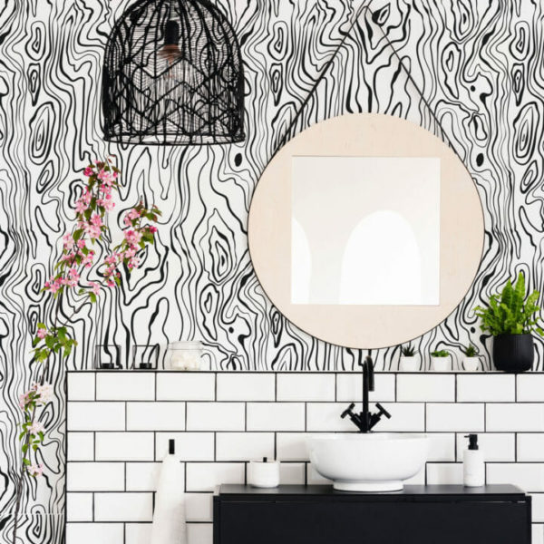 black and white wood texture self-adhesive wallpaper