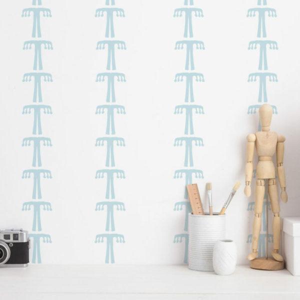 blue and white boho tree peel and stick wallpaper