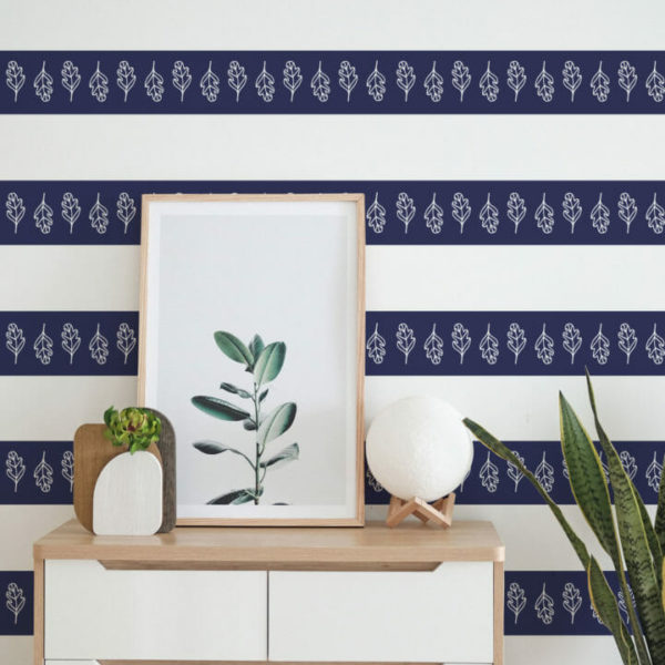 blue and white leaf and stripe peel and stick wallpaper