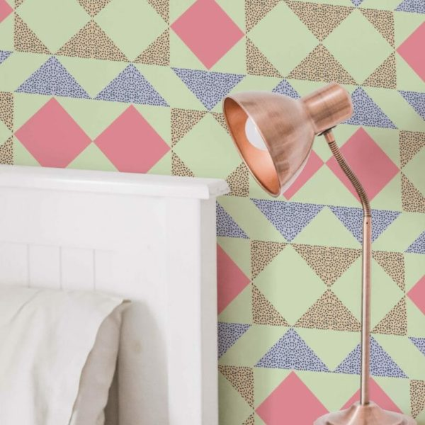 green and pink bright geometric peel and stick wallpaper