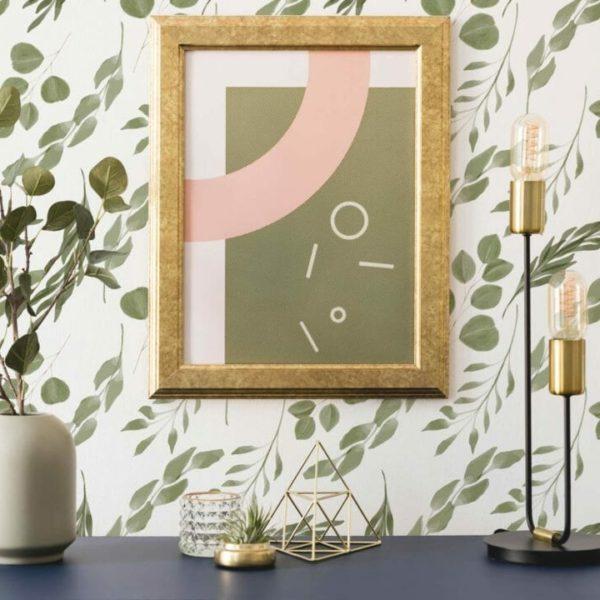 green leaf self-adhesive wallpaper