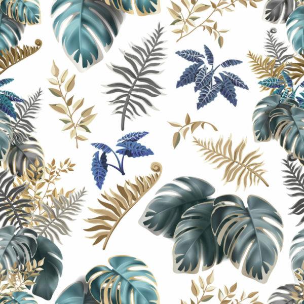 green lush tropical leaf self-adhesive wallpaper