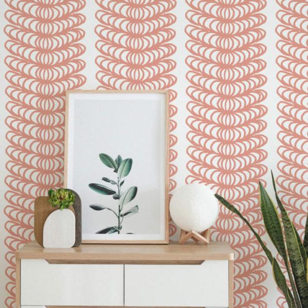 mauve and white ornamental stripe peel and stick wallpaper