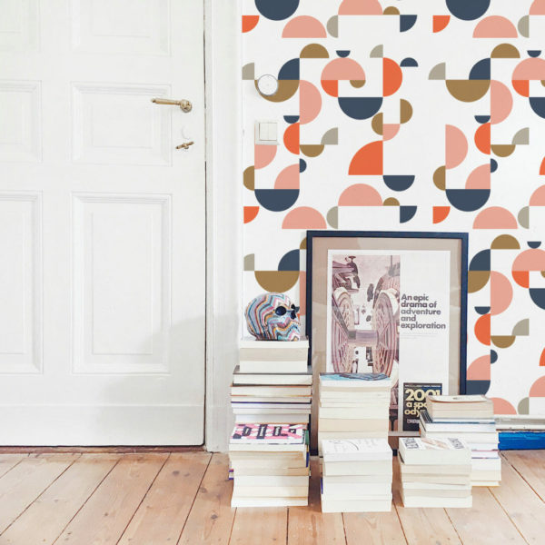 orange and white geometric shapes peel and stick wallpaper