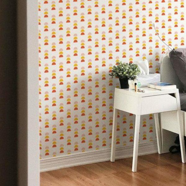 orange, yellow, pink shapes peel and stick wallpaper