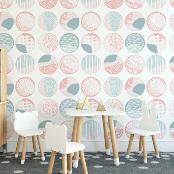 pink and blue boho self-adhesive wallpaper