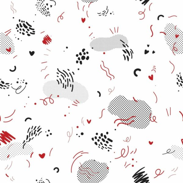 red and white abstract doodle peel and stick wallpaper