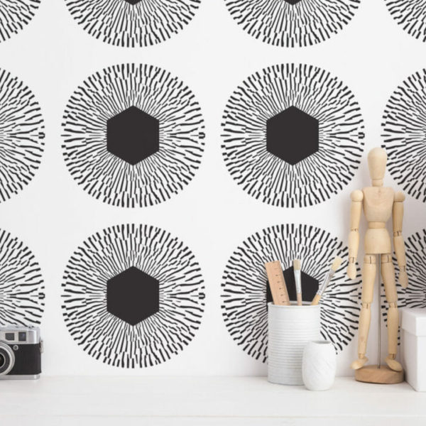 thunder and white large circle peel and stick wallpaper
