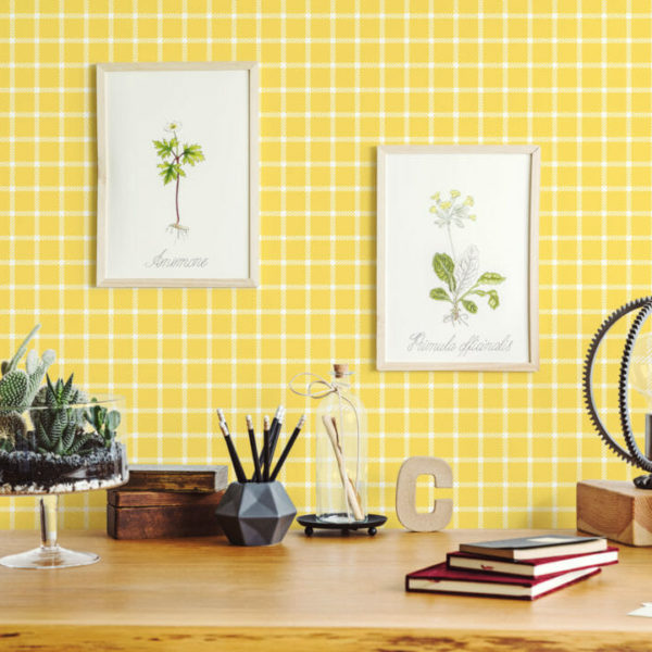 yellow and white gingham peel and stick wallpaper