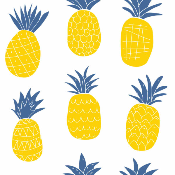 yellow and white pineapple peel and stick wallpaper