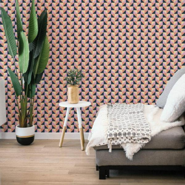 yellow, pink and blue geometric self-adhesive wallpaper