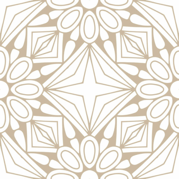 beige and white geometric floral peel and stick wallpaper