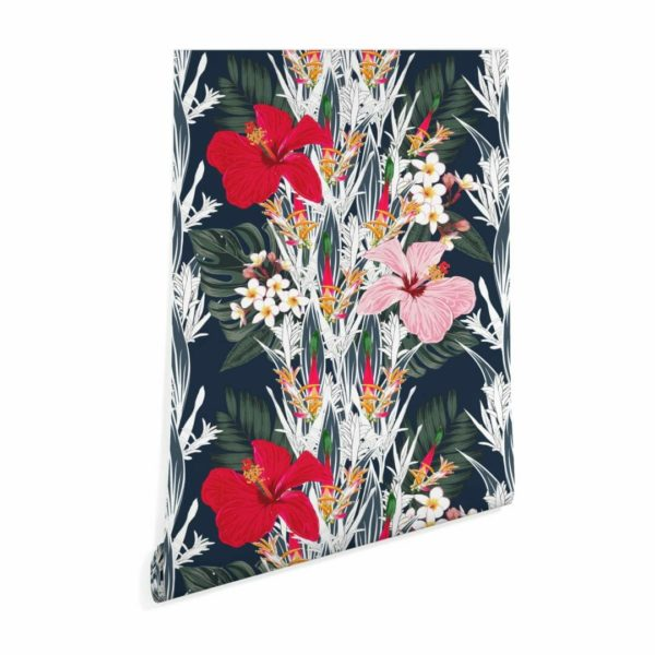 black and red bold floral self-adhesive wallpaper