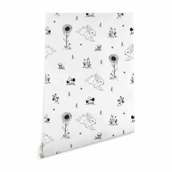 black and white bunny nursery peel and stick wallpaper