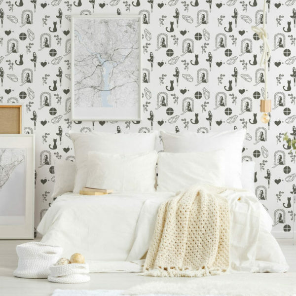 black and white hand drawn peel and stick wallpaper