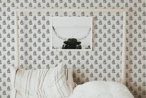 black and white minimalistic tree peel and stick wallpaper