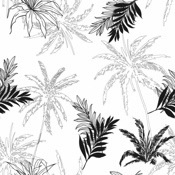 black and white palm tree peel and stick wallpaper