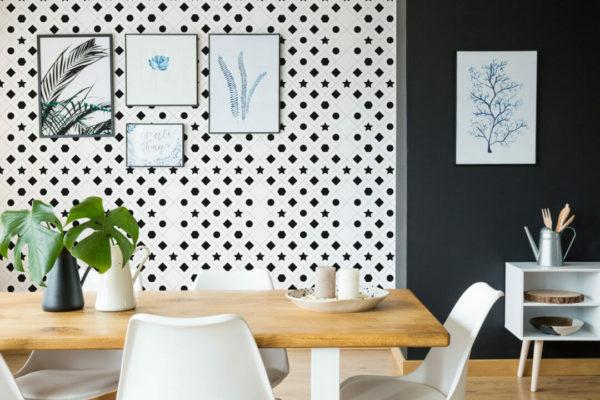 black and white symbols peel and stick wallpaper