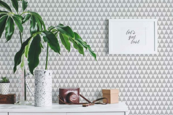 black and white triangle peel and stick wallpaper