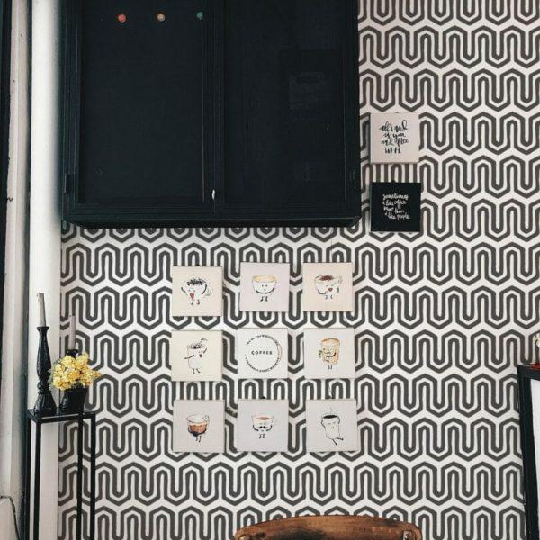 black fret peel and stick wallpaper