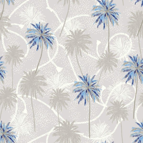 blue and beige palm tree peel and stick wallpaper