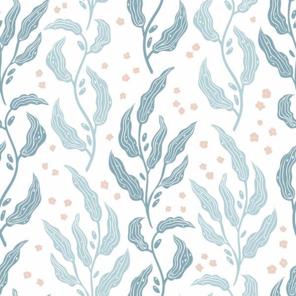 blue nursery leaf peel and stick wallpaper