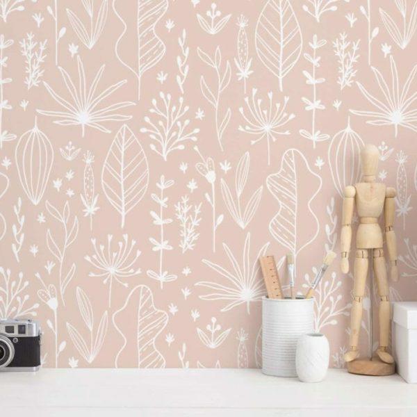 blush boho nursery peel and stick wallpaper