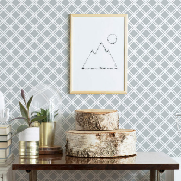 gray and white crisscross peel and stick wallpaper