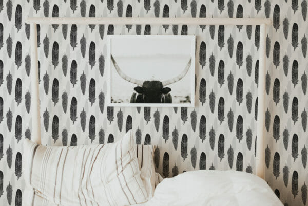 gray feather baby room peel and stick wallpaper