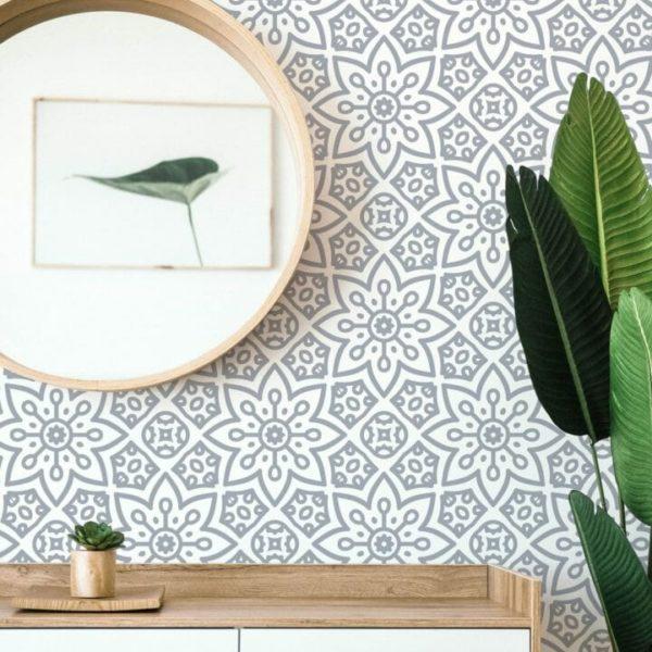 gray geometric flower peel and stick wallpaper