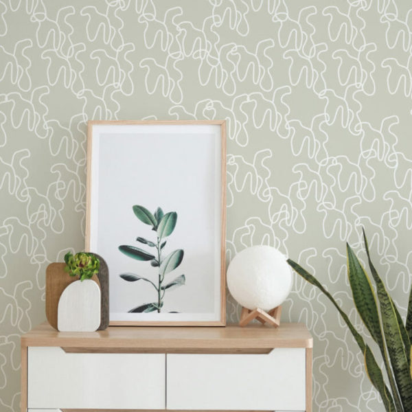 green and white shapes peel and stick wallpaper