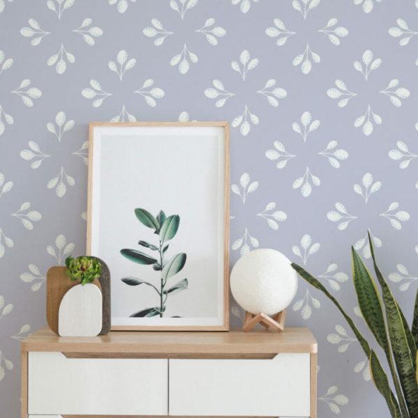 lavender leaf peel and stick wallpaper